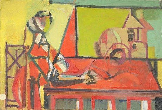 Jacques LAGRANGE (1917-1995) FIGURE DANS UN INTERIEUR, CIRCA 1945 Huile papier marouflé sur toile