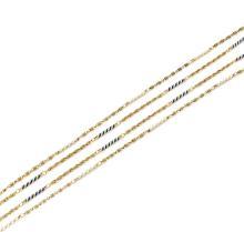 DEUX SAUTOIRS En or jaune 18k (750), à maillons filetés et cordés entrecoupés de barrettes cylindriques à décors spiralés d'émail...