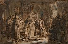 Attribué à Pierre Révoil Lyon, 1776 - Paris, 1842 La remise d'un ordre de chevalerie à un dignitaire Plume et encre brune, lavis bru..