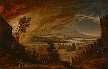 Attribué à Daniel van Heil Bruxelles, 1604 - 1664 Loth et ses filles fuyant l'incendie de Sodome Huile sur panneau, doublé