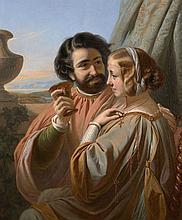 Henri-Guillaume Schlesinger Francfort, 1814 - Neuilly, 1893 Couple en habits médiévaux Huile sur toile (Toile d'origine),
