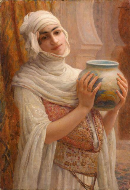 Louis-Auguste GIRARDOT 1856 - 1933 Jeune femme au vase Huile sur toile