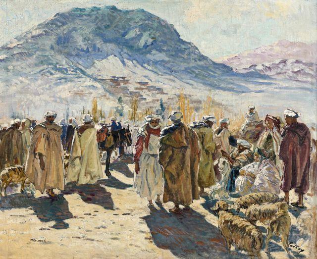 Henry PONTOY 1888 - 1968 Le souk aux moutons Huile sur toile