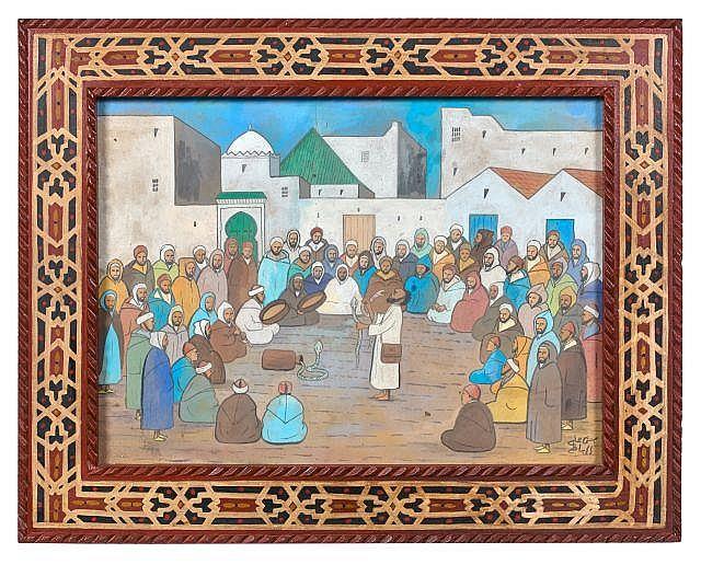 Mohamed Ben Ali R''BATI 1861 - 1939 Le charmeur de serpent Gouache sur papier