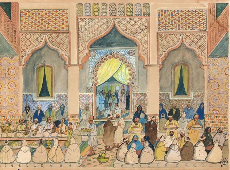 Mohamed Ben Ali R''BATI 1861 - 1939 La circoncision Aquarelle sur papier