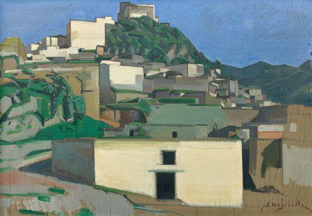 Jacques MAJORELLE 1886 - 1962 Djebel Zerhoun, le moulin à l''huile ou Le mur blanc, Moulay Idriss (Moyen Atlas) Huile sur panneau