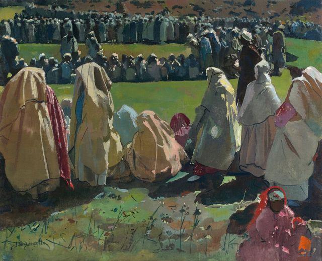 Jacques MAJORELLE 1886 - 1962 Moussem dans les Chiadma au printemps Huile sur toile