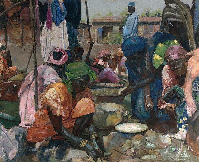 Jacques MAJORELLE 1886 - 1962 Marché à Saint-Louis, Sénégal Huile sur toile