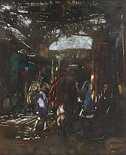 Jacques MAJORELLE 1886 - 1962 Souk à Marrakech Technique mixte sur papier