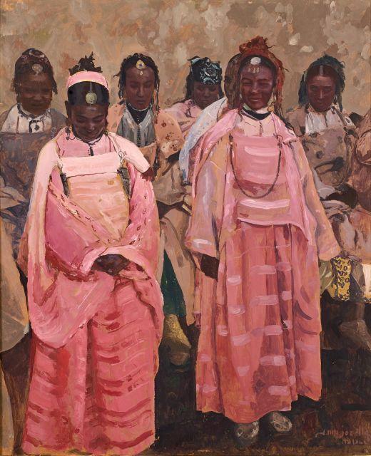 Jacques MAJORELLE 1886 - 1962 Danseuses marocaines à Télouet Huile sur Isorel
