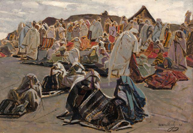 Jacques MAJORELLE 1886 - 1962 Les couvertures noires, Marrakech Huile sur panneau
