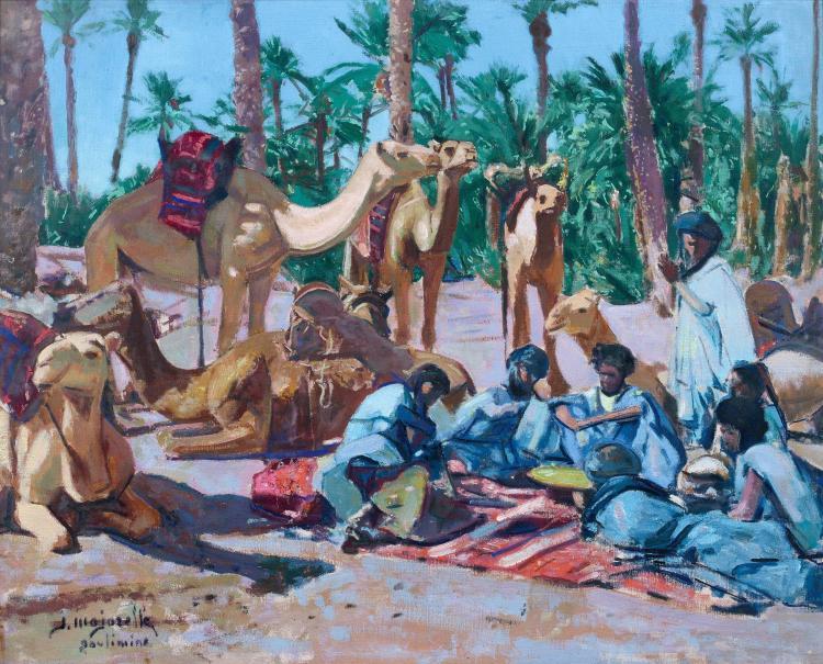 Jacques MAJORELLE 1886 - 1962 Halte de chameliers à Goulimine Huile sur toile