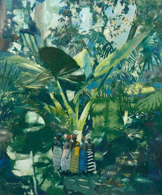 Jacques MAJORELLE 1886 - 1962 Groupe de femmes en forêt, Guinée Tempera sur toile