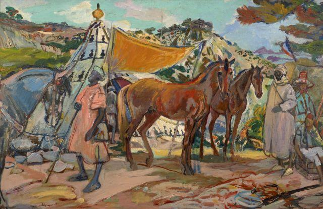 Edy LEGRAND 1892 - 1970 Chevaux, anglais et syriens au Campement d''Aïn-Kebira Huile sur carton fort