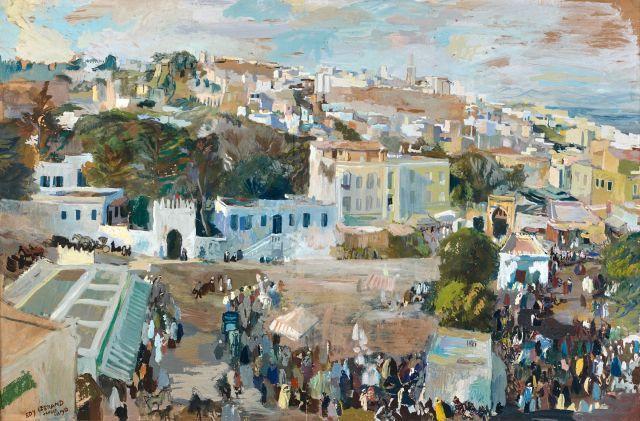 Edy LEGRAND 1892 - 1970 Le grand Socco, Tanger - 1933 Gouache sur papier