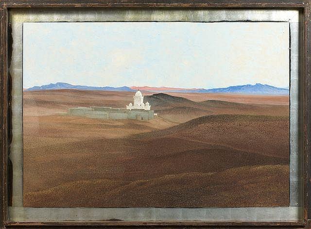 François-Louis SCHMIED 1873 - 1941 Vue prise d''El Hamman, Figuig Peinture à la détrempe sur panneau d''Isorel
