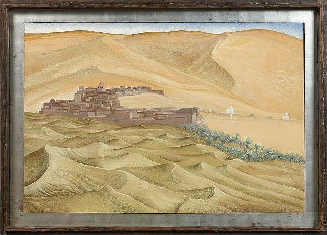 François-Louis SCHMIED 1873 - 1941 Taghit, Sud Oranais - 1933 Peinture à la détrempe sur panneau d''isorel