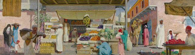Raoul du GARDIER 1871 - 1952 Scène de rue au Caire Huile sur toile