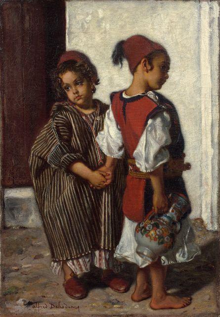 Alfred DEHODENCQ 1822 - 1882 Les deux amis Huile sur toile