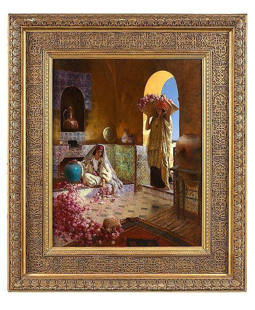 Rudolf ERNST 1854 - 1932 La cueillette des roses Huile sur panneau