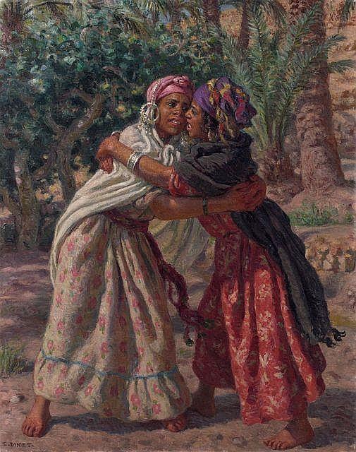 Etienne DINET 1861 - 1929 La lutte des fillettes Huile sur toile