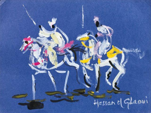 Hassan El GLAOUI Né en 1923 Cavaliers Gouache sur papier