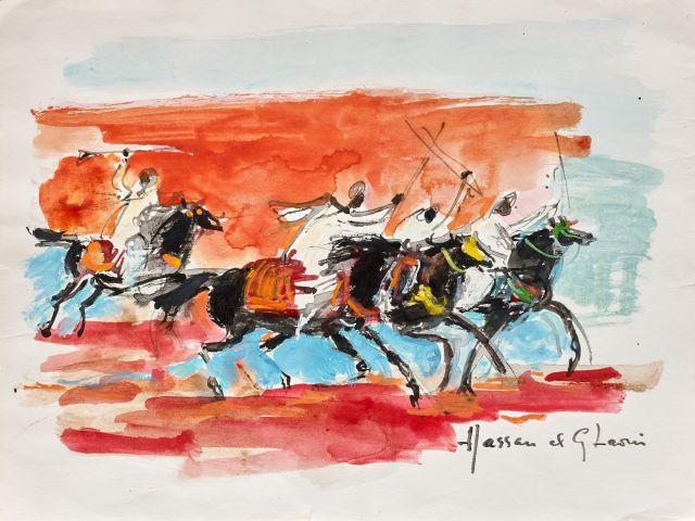 Hassan El GLAOUI Né en 1923 Fantasia Gouache sur papier