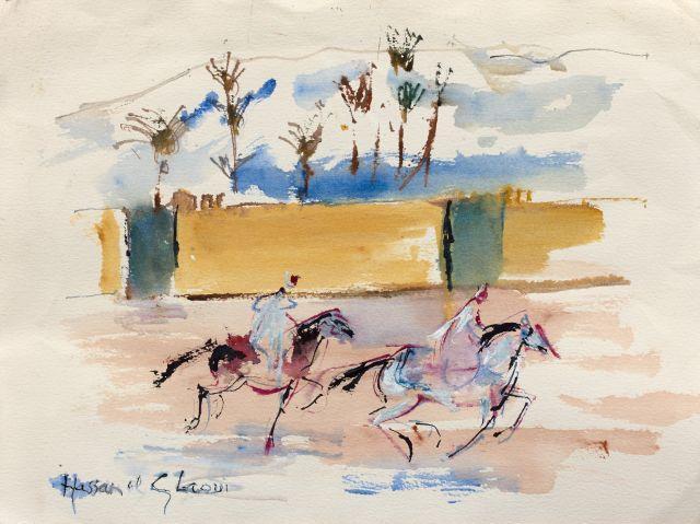 Hassan El GLAOUI Né en 1923 Cavaliers au galop Gouache sur papier