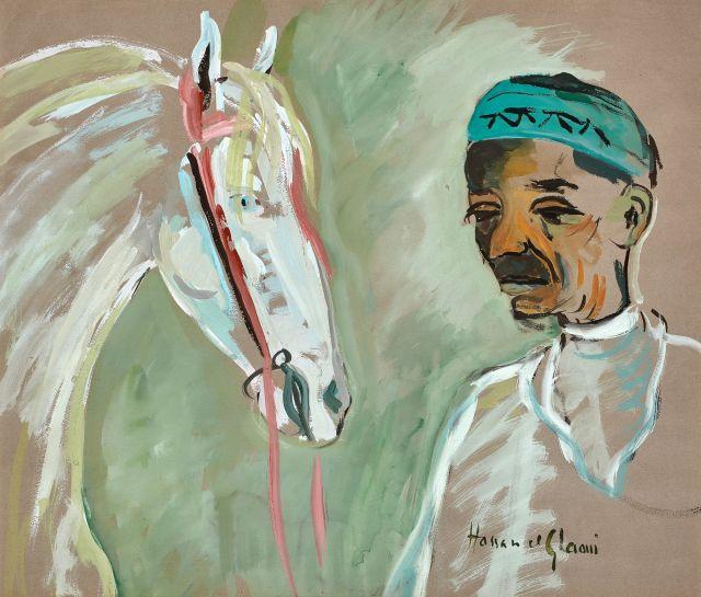 Hassan El GLAOUI Né en 1923 Les deux amis Gouache sur papier