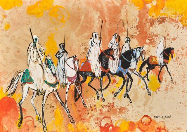 Hassan El GLAOUI Né en 1923 Fantasia Gouache sur papier marouflé sur panneau