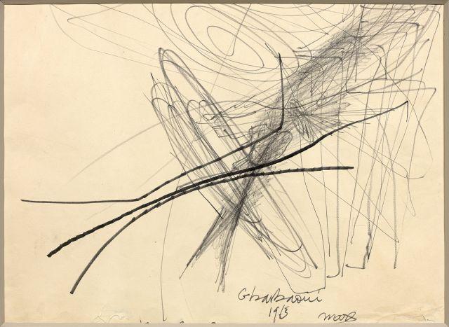Jilali GHARBAOUI 1930 - 1971 L''envol des cigognes - 1963 Crayon et marqueur sur papier