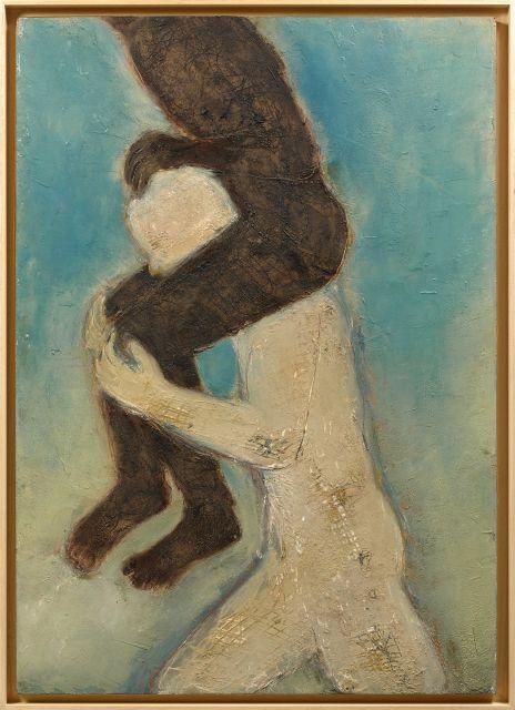 Mahi BINEBINE Né en 1959 Le porteur - 2004 Cire et pigments sur panneau