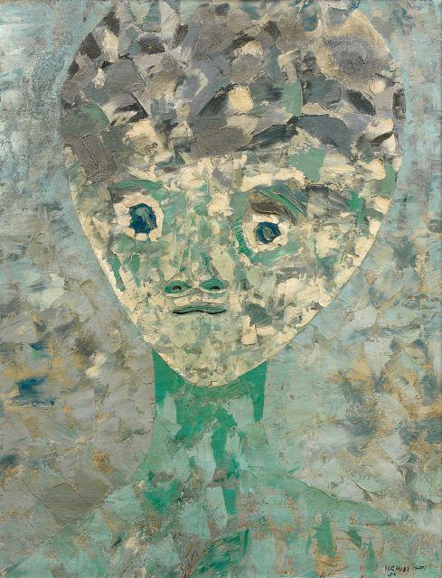 Ahmed YACOUBI 1928 - 1985 Visage - 1956 Huile sur toile