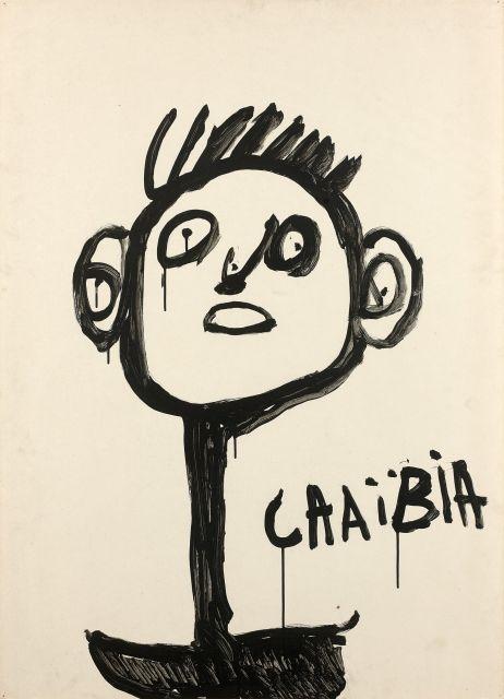 Chaïbia TALAL 1929 - 2004 Tête de jeune garçon Gouache sur papier