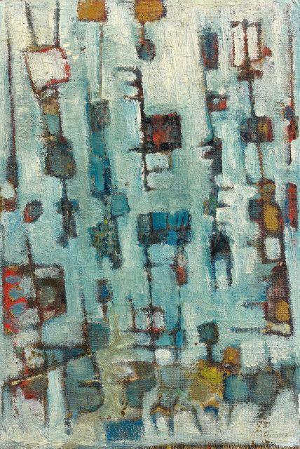 Abdallah BENANTEUR Né en 1931 Le manège - 1957 Huile sur toile marouflée sur panneau