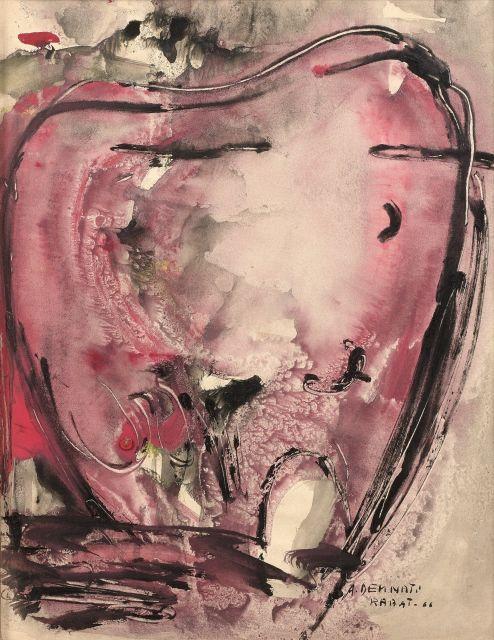 Amine DEMNATI 1942 - 1971 Rabat - 1966 Gouache et tête de clou sur papier