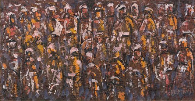 Amine DEMNATI 1942 - 1971 Foule Huile sur panneau