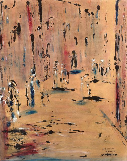 Amine DEMNATI 1942 - 1971 Rue animée - 1967 Huile sur papier