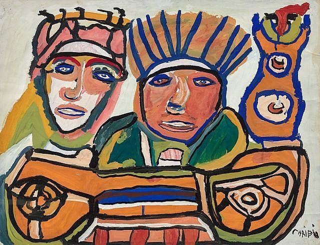 Chaïbia TALAL 1929 - 2004 Femme à la prière - 1970 Gouache sur papier