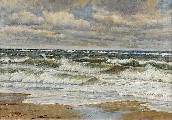 Wartan MAHOKIAN (1869-1937) LA MER Huile sur toile