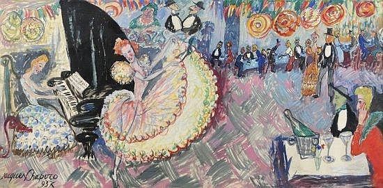 Jacques CHAPIRO (1887-1972) AU CAFE CONCERT, 1937 Aquarelle sur papier monté sur panneau