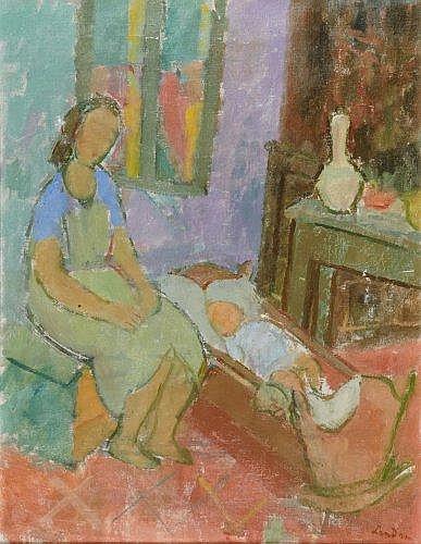 Zygmunt LANDAU (1898-1962) FEMME ET ENFANT DANS UN INTERIEUR Huile sur toile