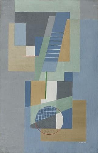 Marie Cerminova dite TOYEN (Prague, 1902 - Paris, 1980) COMPOSITION GEOMETRIQUE, 1926 Huile sur toile