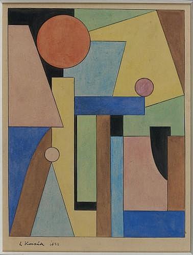Lajos KASSAK (Ersekujuar, 1887- Budapest, 1967) COMPOSITION, 1922 Gouache sur papier