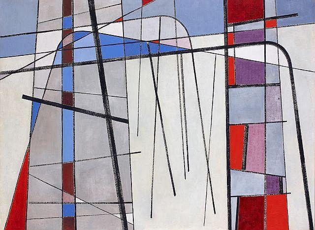 Jean LEPPIEN (1910 - 1991) COMPOSITION ABSTRAITE, 1949 Huile sur panneau d'isorel
