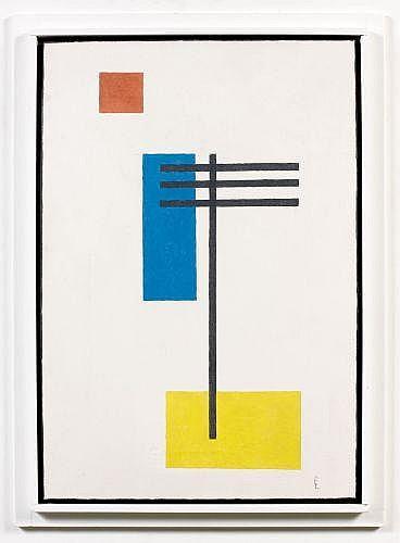 Lajos VON EBNETH (1902 - 1982) COMPOSITION BLEU, ROUGE ET JAUNE Huile sur toile