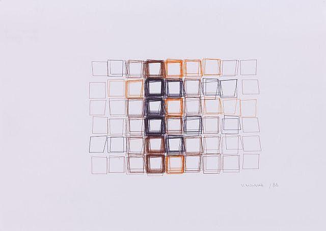 Vera MOLNAR (née en 1924) STRUCTURE DU QUADRILATERE, 1988 Tracés informatiques avec des encres colorées sur papier