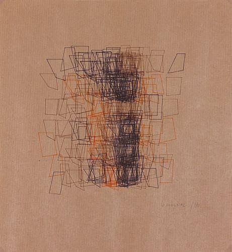 Vera MOLNAR (née en 1924) STRUCTURE DU QUADRILATERE, 1988 Tracés informatiques avec des encres colorées sur papier kraft