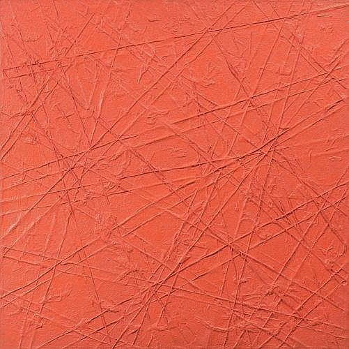 Bernard AUBERTIN (né en 1934) MONOCHROME ROUGE, 1976 Technique mixte et fils de fer sur panneau