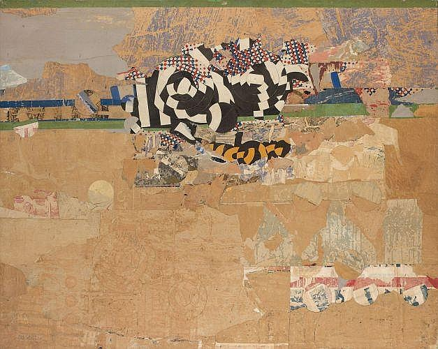 Arthur AESCHBACHER (Né en 1923) HORIZON, SANS TITRE, 1965 Collage d'affiches déchirées sur papier marouflé sur toile